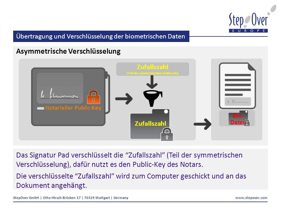 StepOver GmbH | Otto-Hirsch-Brücken 17 | 70329 Stuttgart | Germany www.stepover.com Übertragung und Verschlüsselung der biometrischen Daten Asymmetrische Verschlüsselung Das Signatur Pad verschlüsselt die Zufallszahl (Teil der symmetrischen Verschlüsselung), dafür nutzt es den Public-Key des Notars.
