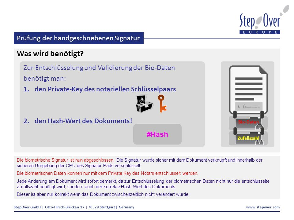 StepOver GmbH | Otto-Hirsch-Brücken 17 | 70329 Stuttgart | Germany www.stepover.com Prüfung der handgeschriebenen Signatur Was wird benötigt.