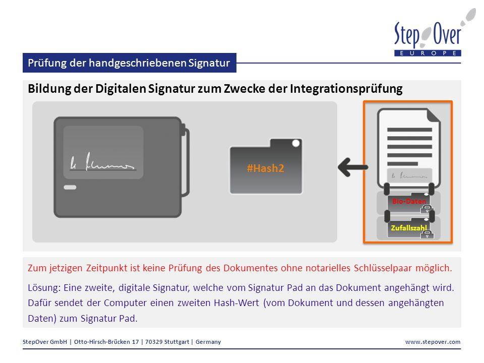StepOver GmbH | Otto-Hirsch-Brücken 17 | 70329 Stuttgart | Germany www.stepover.com Prüfung der handgeschriebenen Signatur Bildung der Digitalen Signatur zum Zwecke der Integrationsprüfung Zum jetzigen Zeitpunkt ist keine Prüfung des Dokumentes ohne notarielles Schlüsselpaar möglich.