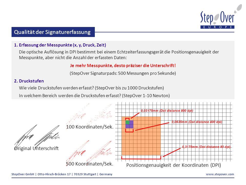 StepOver GmbH | Otto-Hirsch-Brücken 17 | 70329 Stuttgart | Germany www.stepover.com Qualität der Signaturerfassung 1.Erfassung der Messpunkte (x, y, Druck, Zeit) Die optische Auflösung in DPI bestimmt bei einem Echtzeiterfassungsgerät die Positionsgenauigkeit der Messpunkte, aber nicht die Anzahl der erfassten Daten: Je mehr Messpunkte, desto präziser die Unterschrift.