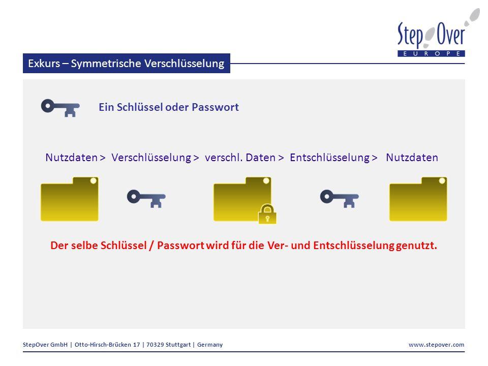 StepOver GmbH | Otto-Hirsch-Brücken 17 | 70329 Stuttgart | Germany www.stepover.com Exkurs – Symmetrische Verschlüsselung Nutzdaten > Verschlüsselung > verschl.