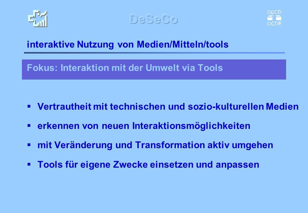 interaktive Nutzung von Medien/Mitteln/tools Fokus: Interaktion mit der Umwelt via Tools Vertrautheit mit technischen und sozio-kulturellen Medien erk