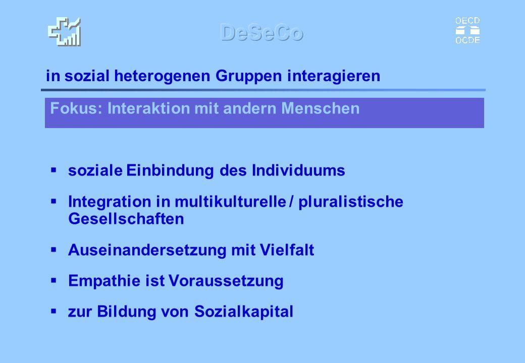 Fokus: Interaktion mit andern Menschen soziale Einbindung des Individuums Integration in multikulturelle / pluralistische Gesellschaften Auseinanderse