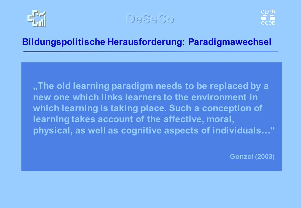 Bildungspolitische Herausforderung: Paradigmawechsel The old learning paradigm needs to be replaced by a new one which links learners to the environme