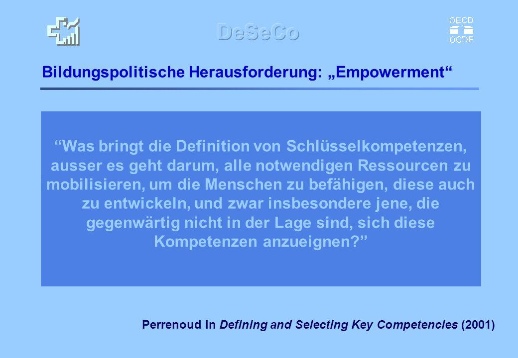 Bildungspolitische Herausforderung: Empowerment Perrenoud in Defining and Selecting Key Competencies (2001) Was bringt die Definition von Schlüsselkom