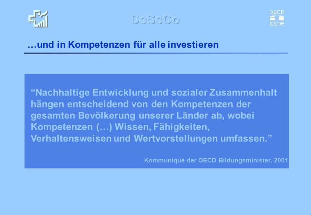 …und in Kompetenzen für alle investieren Kommuniqué der OECD Bildungsminister, 2001 Nachhaltige Entwicklung und sozialer Zusammenhalt hängen entscheid