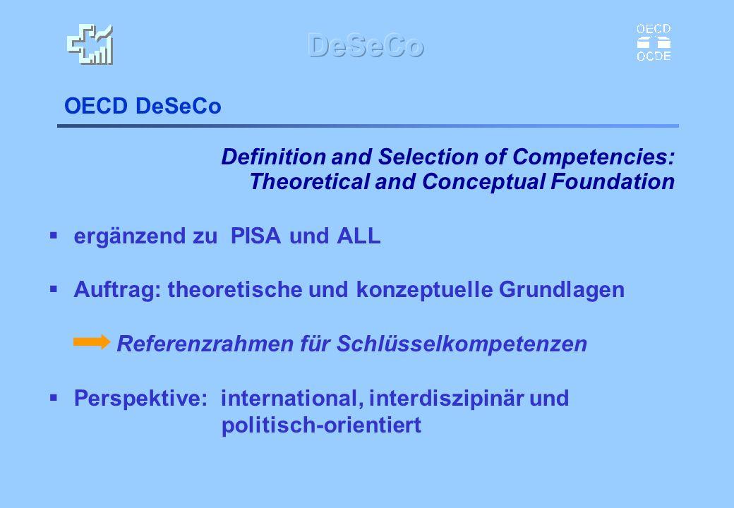 OECD DeSeCo Definition and Selection of Competencies: Theoretical and Conceptual Foundation ergänzend zu PISA und ALL Auftrag: theoretische und konzep
