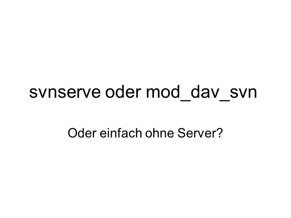 svnserve oder mod_dav_svn Oder einfach ohne Server?