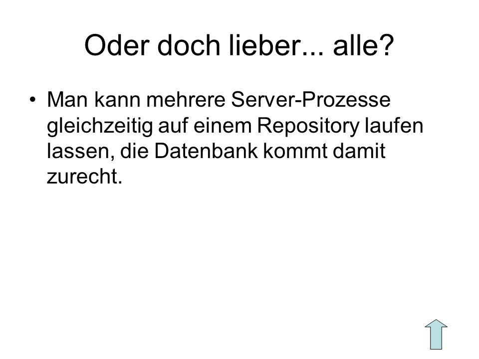 Oder doch lieber... alle? Man kann mehrere Server-Prozesse gleichzeitig auf einem Repository laufen lassen, die Datenbank kommt damit zurecht.