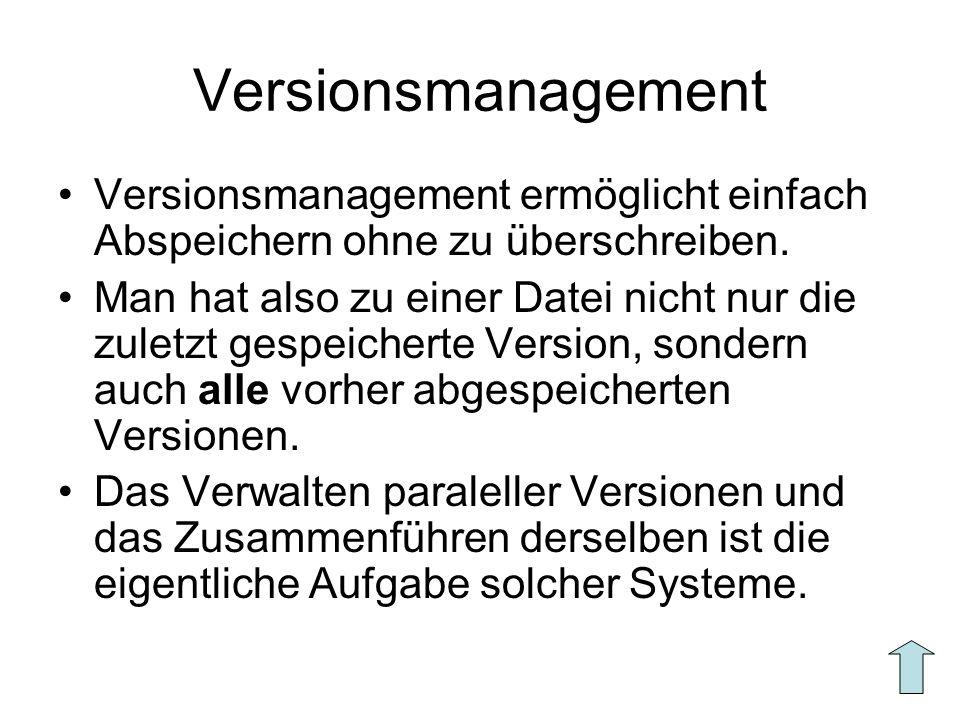 Versionsmanagement Versionsmanagement ermöglicht einfach Abspeichern ohne zu überschreiben. Man hat also zu einer Datei nicht nur die zuletzt gespeich
