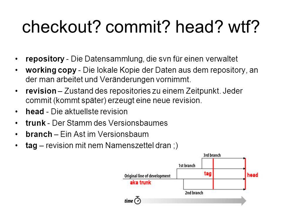checkout? commit? head? wtf? repository - Die Datensammlung, die svn für einen verwaltet working copy - Die lokale Kopie der Daten aus dem repository,