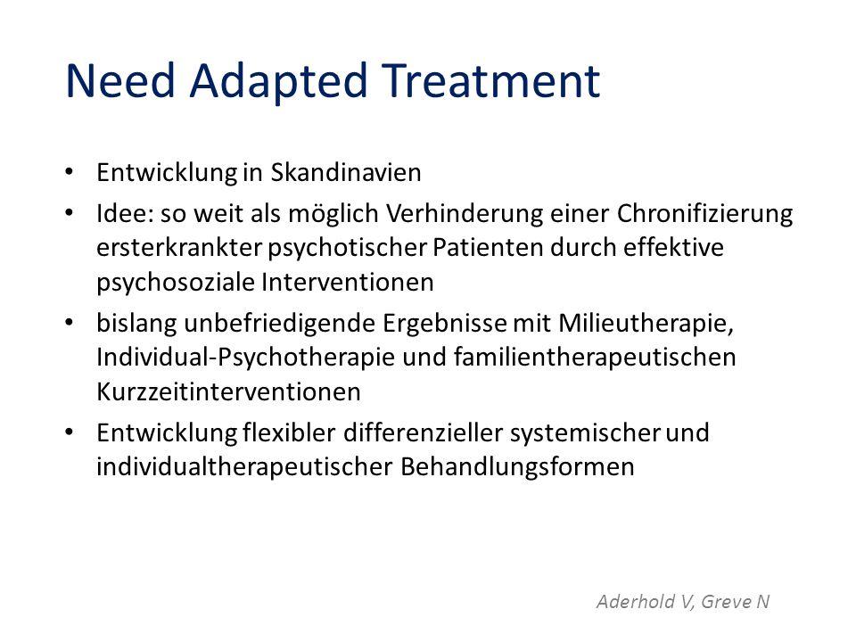 Need Adapted Treatment Entwicklung in Skandinavien Idee: so weit als möglich Verhinderung einer Chronifizierung ersterkrankter psychotischer Patienten
