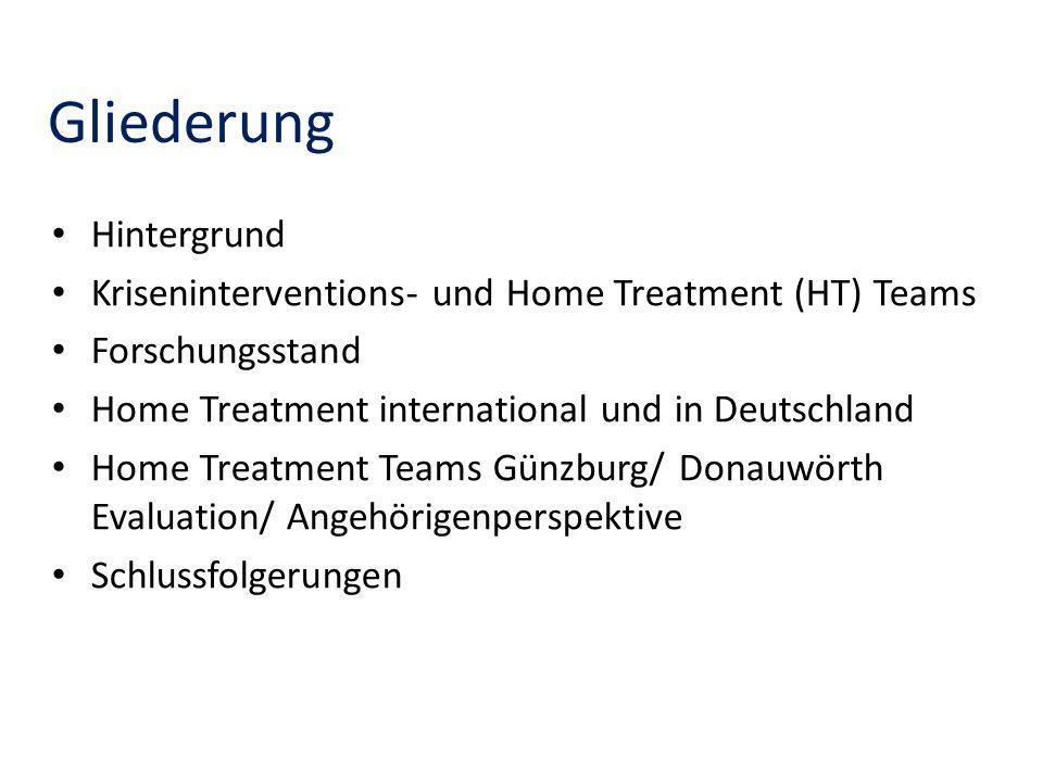 Gliederung Hintergrund Kriseninterventions- und Home Treatment (HT) Teams Forschungsstand Home Treatment international und in Deutschland Home Treatme