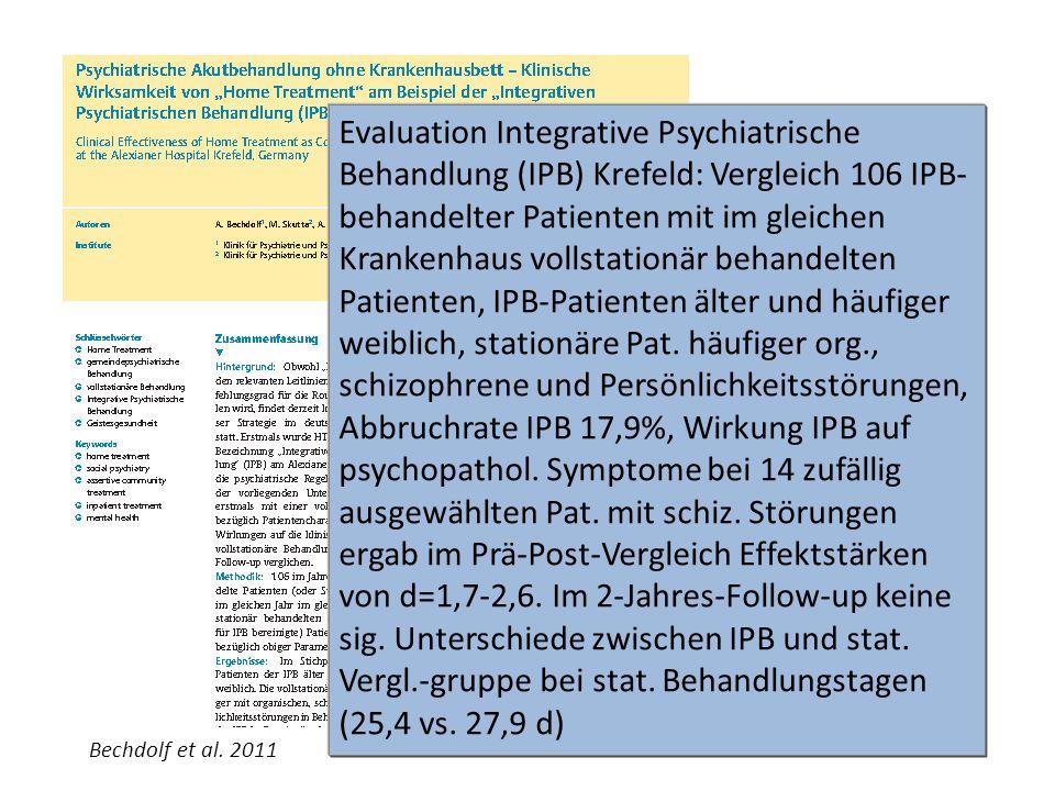 EvaIuation Integrative Psychiatrische Behandlung (IPB) Krefeld: Vergleich 106 IPB- behandelter Patienten mit im gleichen Krankenhaus vollstationär beh