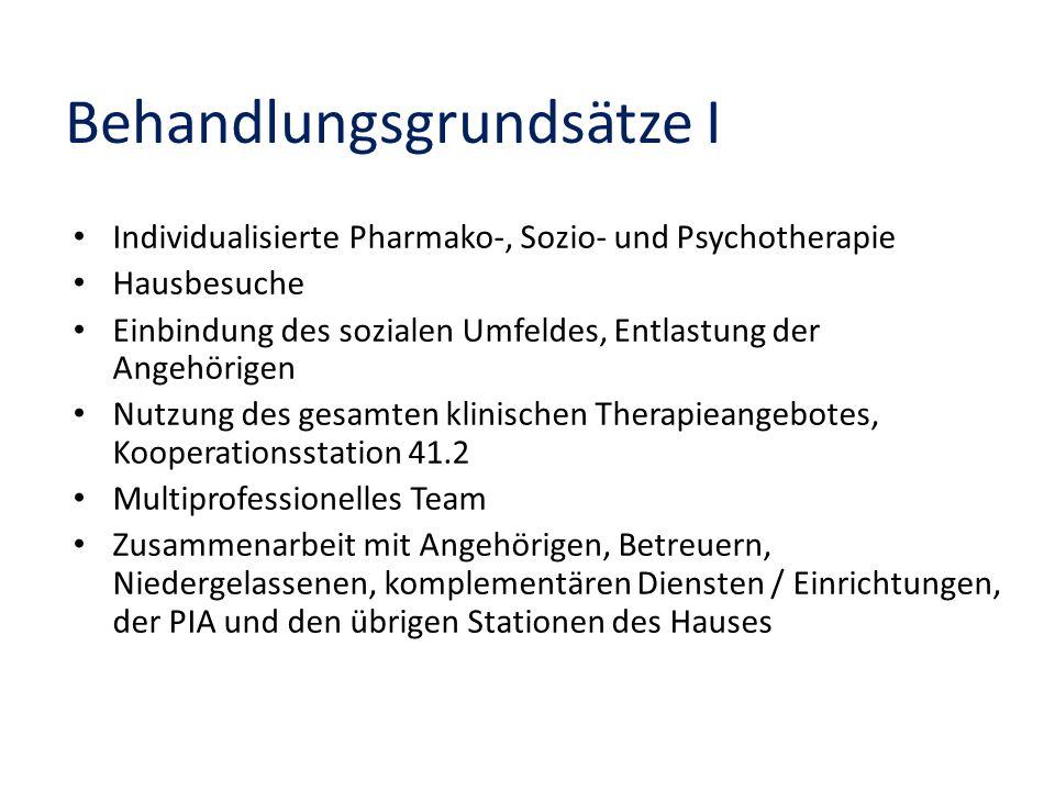 Behandlungsgrundsätze I Individualisierte Pharmako-, Sozio- und Psychotherapie Hausbesuche Einbindung des sozialen Umfeldes, Entlastung der Angehörige