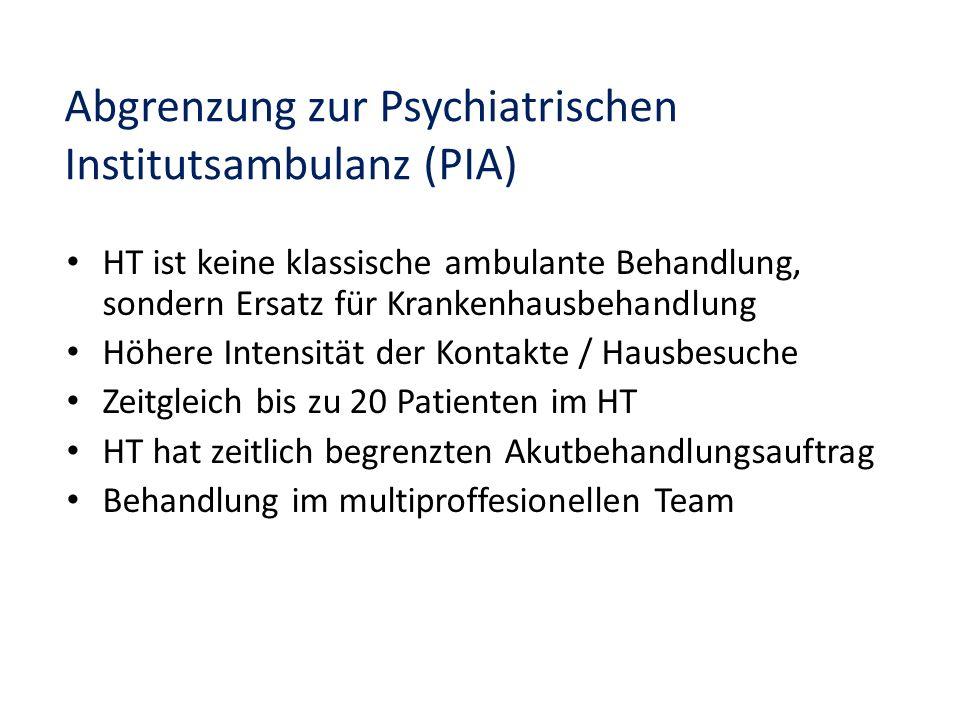 Abgrenzung zur Psychiatrischen Institutsambulanz (PIA) HT ist keine klassische ambulante Behandlung, sondern Ersatz für Krankenhausbehandlung Höhere I