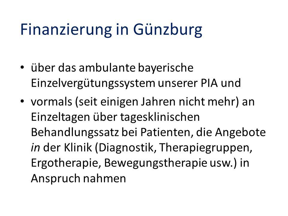 über das ambulante bayerische Einzelvergütungssystem unserer PIA und vormals (seit einigen Jahren nicht mehr) an Einzeltagen über tagesklinischen Beha