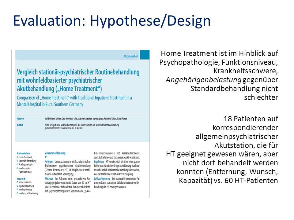 Evaluation: Hypothese/Design Home Treatment ist im Hinblick auf Psychopathologie, Funktionsniveau, Krankheitsschwere, Angehörigenbelastung gegenüber S