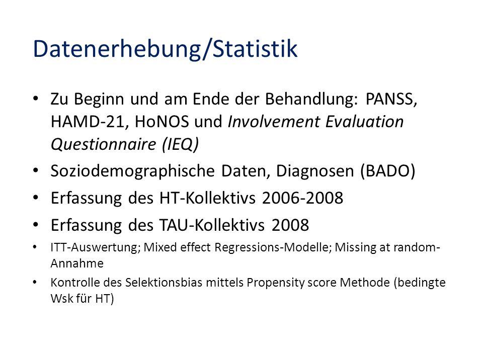Datenerhebung/Statistik Zu Beginn und am Ende der Behandlung: PANSS, HAMD-21, HoNOS und Involvement Evaluation Questionnaire (IEQ) Soziodemographische