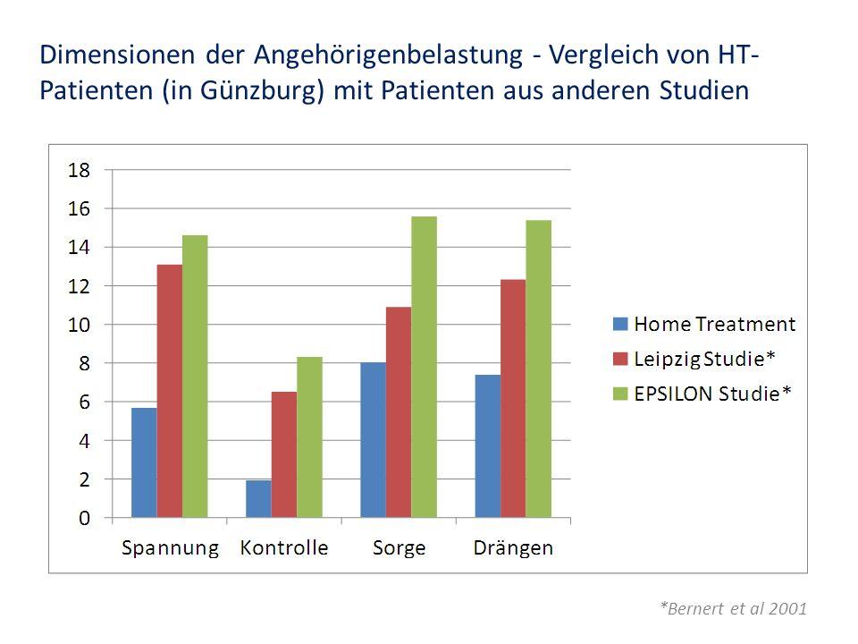Dimensionen der Angehörigenbelastung - Vergleich von HT- Patienten (in Günzburg) mit Patienten aus anderen Studien *Bernert et al 2001