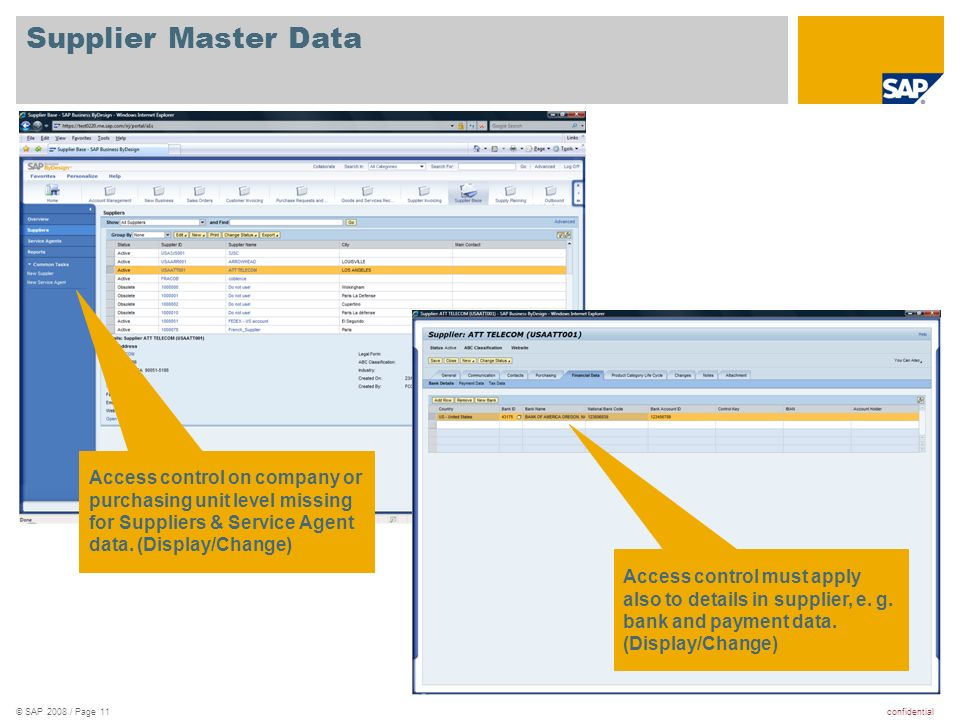 confidential© SAP 2008 / Page 11 Supplier Master Data Access control on company or purchasing unit level missing for Suppliers & Service Agent data.
