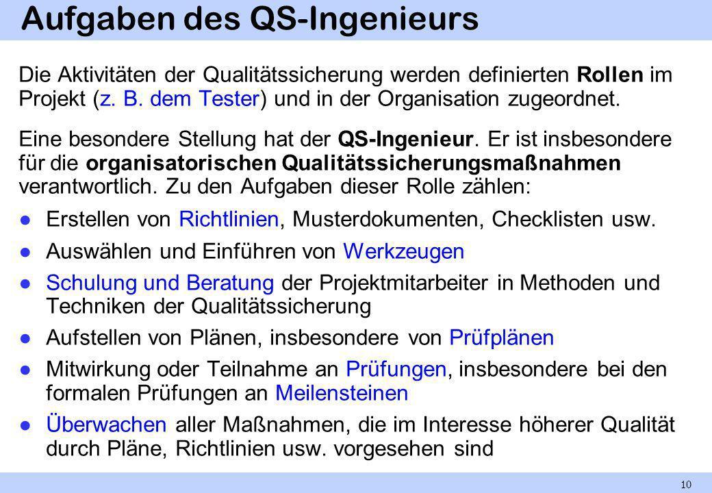 Aufgaben des QS-Ingenieurs Die Aktivitäten der Qualitätssicherung werden definierten Rollen im Projekt (z. B. dem Tester) und in der Organisation zuge