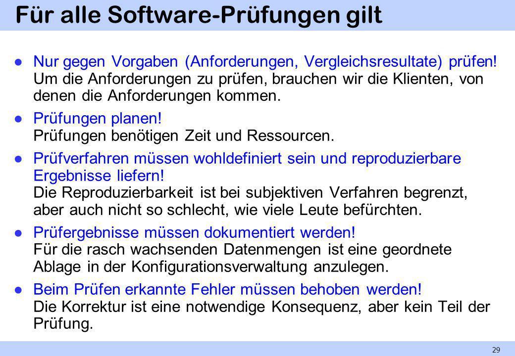 Für alle Software-Prüfungen gilt Nur gegen Vorgaben (Anforderungen, Vergleichsresultate) prüfen! Um die Anforderungen zu prüfen, brauchen wir die Klie
