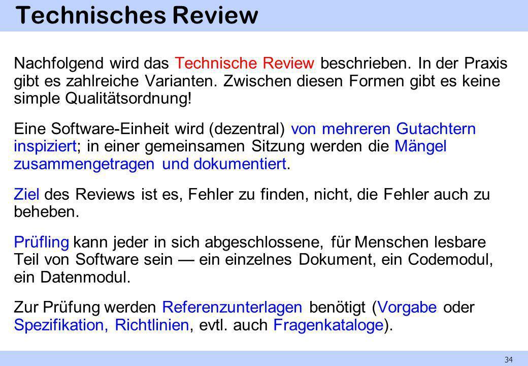 Rollen im Technischen Review Zuständigkeiten und Verantwortlichkeiten sind im Review klar durch folgende Rollen definiert: Der Moderator leitet das Review, ist also für den ordnungsgemäßen Ablauf verantwortlich.