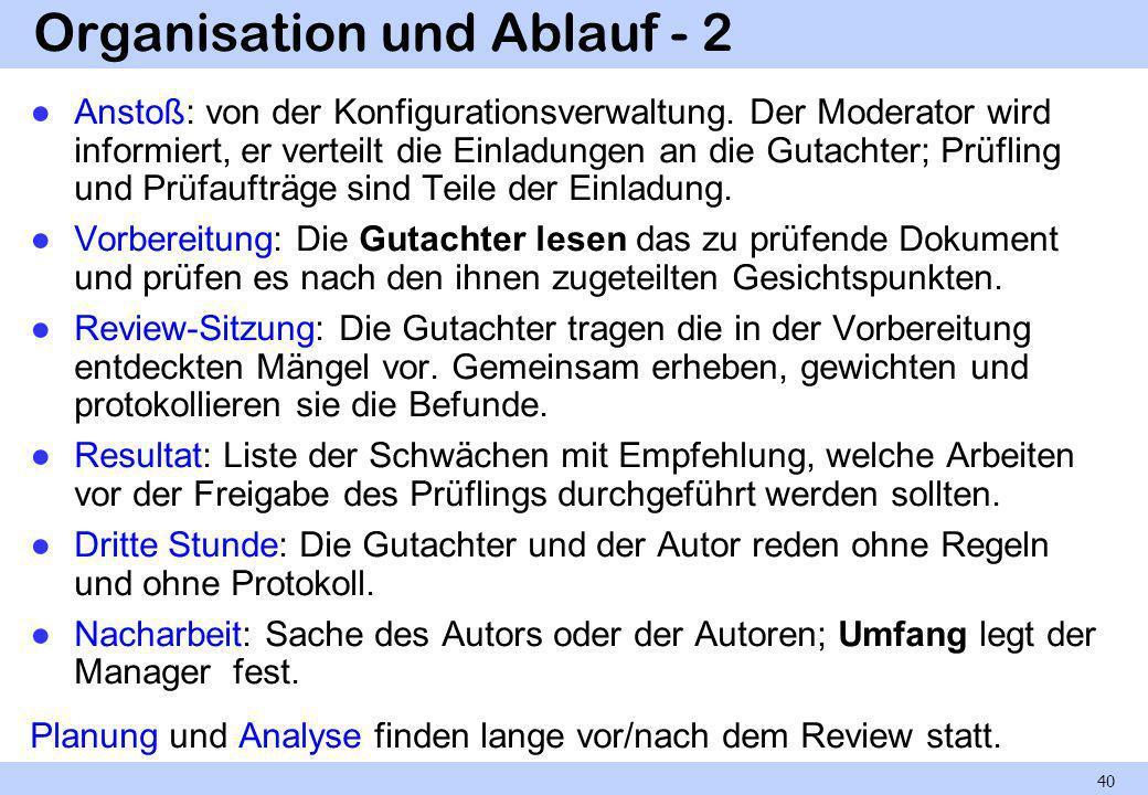 Review-Regeln - 1 1.Der Moderator organisiert das Review, lädt dazu ein und führt es durch.
