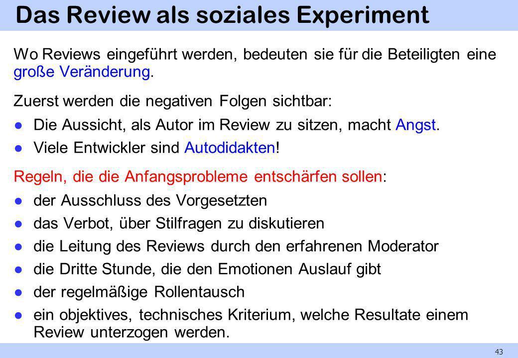 Das Review als soziales Experiment Wo Reviews eingeführt werden, bedeuten sie für die Beteiligten eine große Veränderung. Zuerst werden die negativen