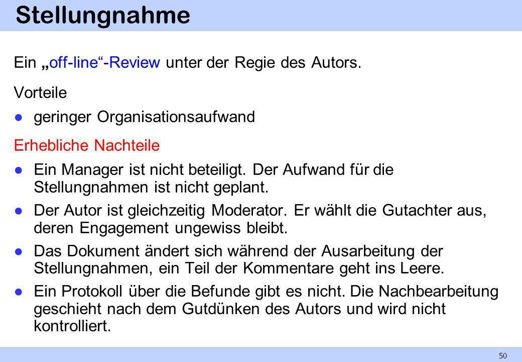 Stellungnahme Ein off-line-Review unter der Regie des Autors. Vorteile geringer Organisationsaufwand Erhebliche Nachteile Ein Manager ist nicht beteil