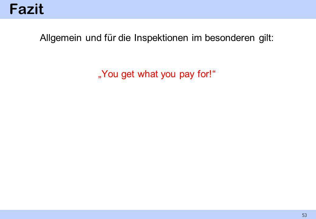 Fazit Allgemein und für die Inspektionen im besonderen gilt: You get what you pay for! 53
