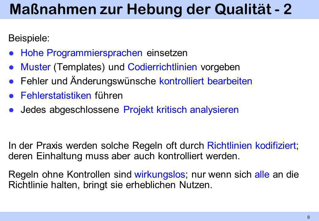 Maßnahmen zur Hebung der Qualität - 2 Beispiele: Hohe Programmiersprachen einsetzen Muster (Templates) und Codierrichtlinien vorgeben Fehler und Änder