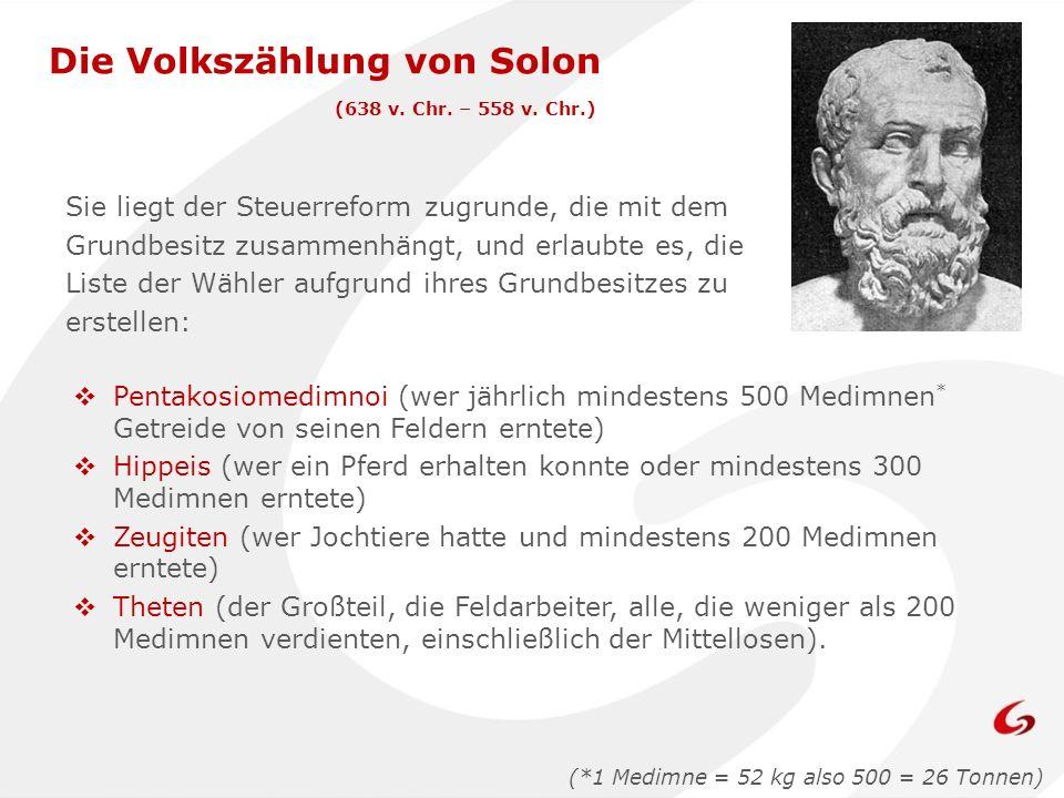 Die Volkszählung von Solon (638 v. Chr. – 558 v. Chr.) Sie liegt der Steuerreform zugrunde, die mit dem Grundbesitz zusammenhängt, und erlaubte es, di