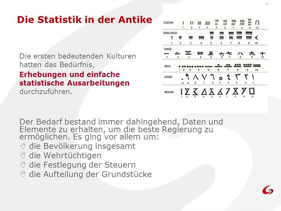Die Statistik in der Antike Der Bedarf bestand immer dahingehend, Daten und Elemente zu erhalten, um die beste Regierung zu ermöglichen. Es ging vor a