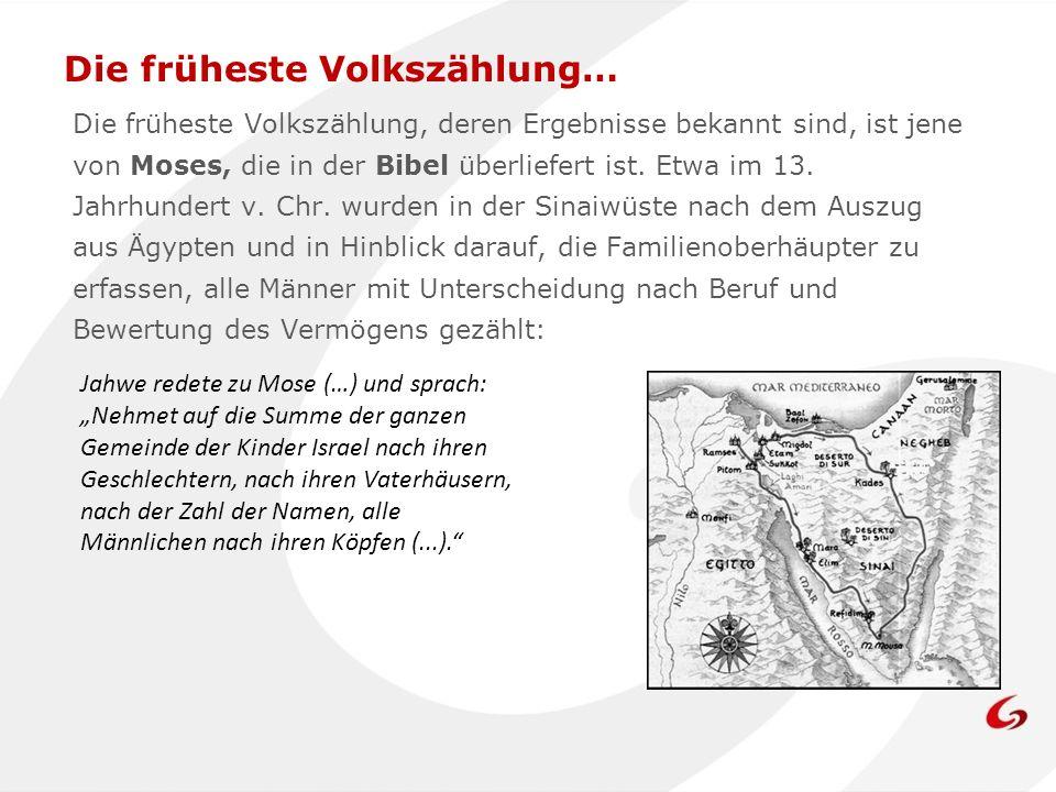 Die früheste Volkszählung, deren Ergebnisse bekannt sind, ist jene von Moses, die in der Bibel überliefert ist. Etwa im 13. Jahrhundert v. Chr. wurden