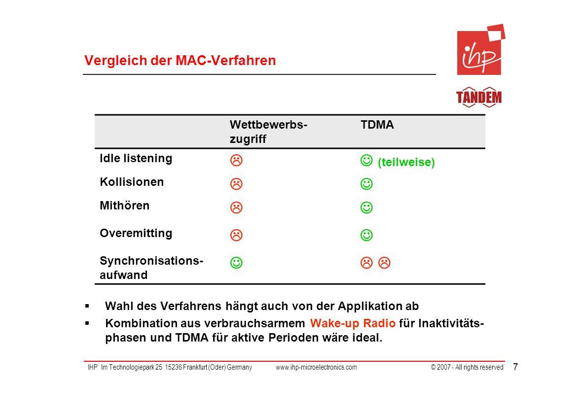 IHP Im Technologiepark 25 15236 Frankfurt (Oder) Germany www.ihp-microelectronics.com © 2007 - All rights reserved 7 Vergleich der MAC-Verfahren Wahl des Verfahrens hängt auch von der Applikation ab Kombination aus verbrauchsarmem Wake-up Radio für Inaktivitäts- phasen und TDMA für aktive Perioden wäre ideal.