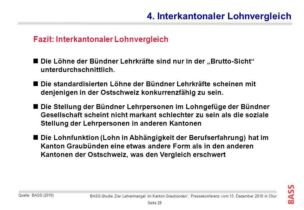 Seite 28 Fazit: Interkantonaler Lohnvergleich 4. Interkantonaler Lohnvergleich BASS-Studie Der Lehrermangel im Kanton Graubünden, Pressekonferenz vom