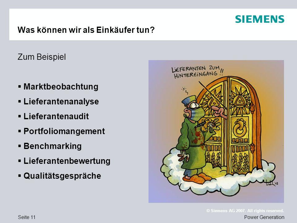 Seite 11Power Generation © Siemens AG 2007. All rights reserved. Was können wir als Einkäufer tun? Zum Beispiel Marktbeobachtung Lieferantenanalyse Li