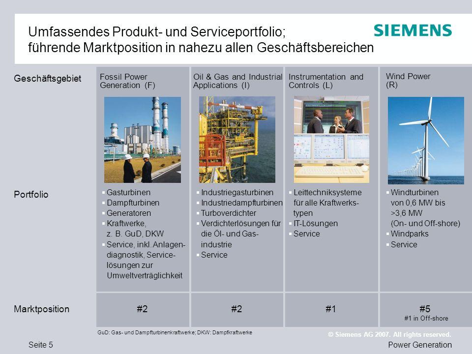 Seite 16Power Generation © Siemens AG 2007. All rights reserved. PRAXISBEISPIEL