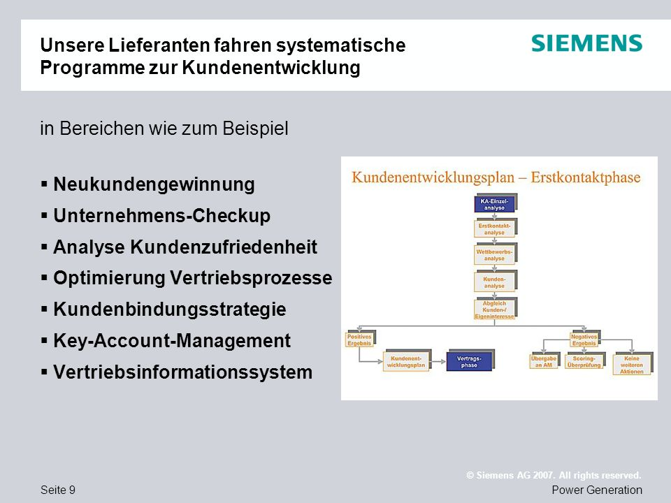 Seite 10Power Generation © Siemens AG 2007.All rights reserved.