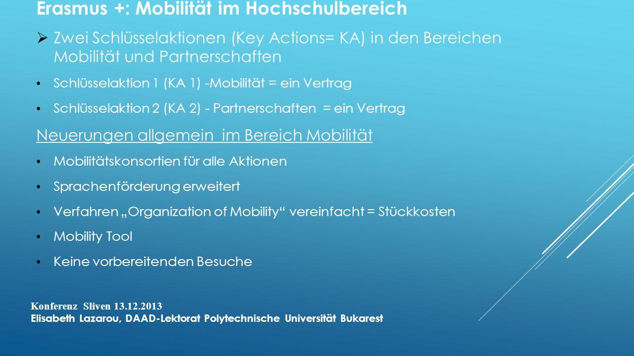 Erasmus +: Mobilität im Hochschulbereich Zwei Schlüsselaktionen (Key Actions= KA) in den Bereichen Mobilität und Partnerschaften Schlüsselaktion 1 (KA 1) -Mobilität = ein Vertrag Schlüsselaktion 2 (KA 2) - Partnerschaften = ein Vertrag Neuerungen allgemein im Bereich Mobilität Mobilitätskonsortien für alle Aktionen Sprachenförderung erweitert Verfahren Organization of Mobility vereinfacht = Stückkosten Mobility Tool Keine vorbereitenden Besuche Konferenz Sliven 13.12.2013 Elisabeth Lazarou, DAAD-Lektorat Polytechnische Universität Bukarest
