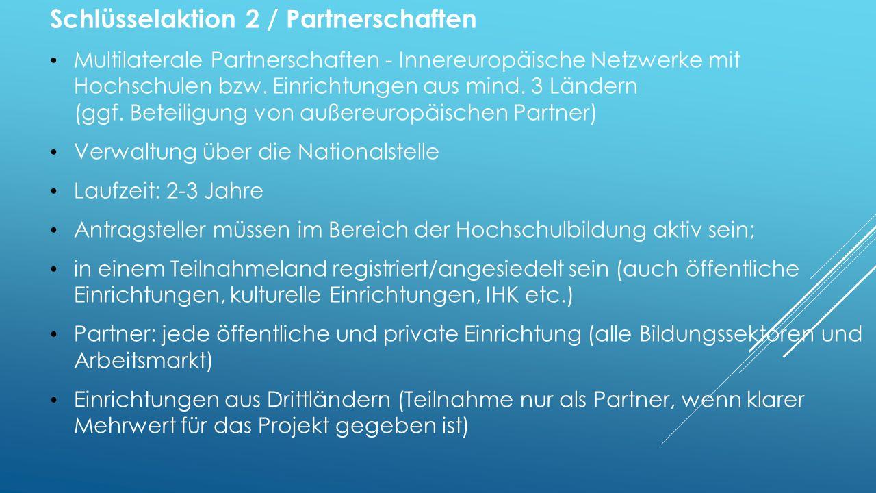 Schlüsselaktion 2 / Partnerschaften Multilaterale Partnerschaften - Innereuropäische Netzwerke mit Hochschulen bzw.