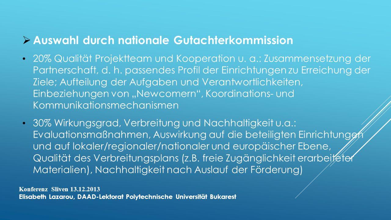 Auswahl durch nationale Gutachterkommission 20% Qualität Projektteam und Kooperation u.