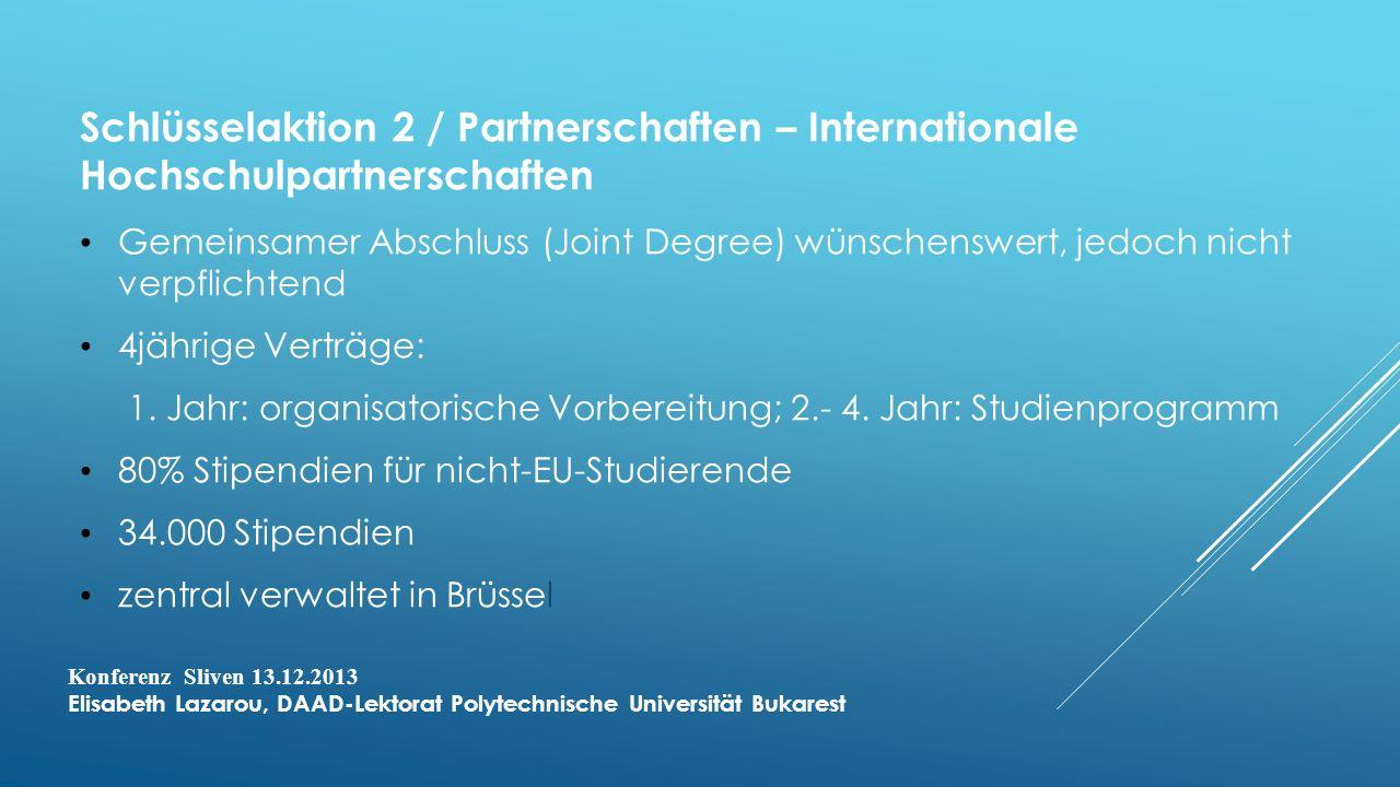 Schlüsselaktion 2 / Partnerschaften – Internationale Hochschulpartnerschaften Gemeinsamer Abschluss (Joint Degree) wünschenswert, jedoch nicht verpflichtend 4jährige Verträge: 1.