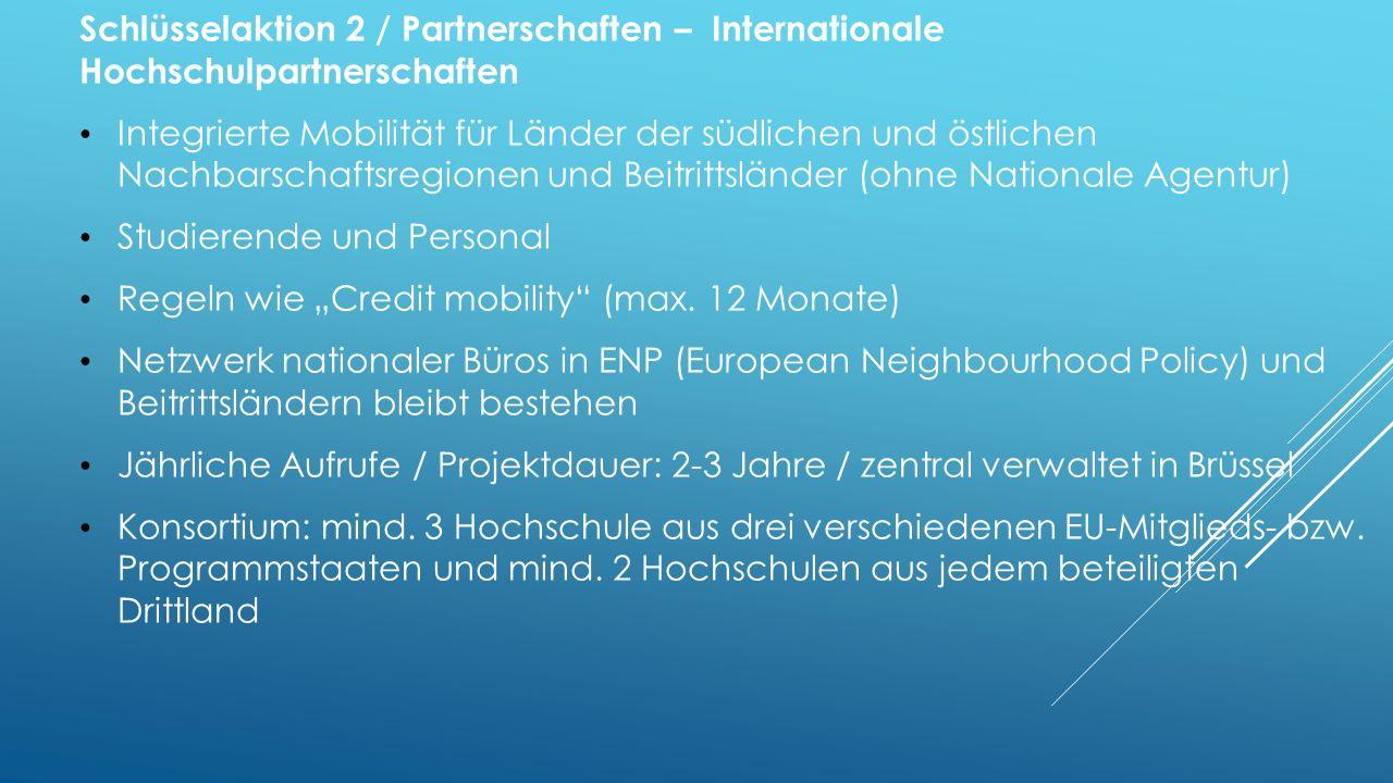Schlüsselaktion 2 / Partnerschaften – Internationale Hochschulpartnerschaften Integrierte Mobilität für Länder der südlichen und östlichen Nachbarschaftsregionen und Beitrittsländer (ohne Nationale Agentur) Studierende und Personal Regeln wie Credit mobility (max.