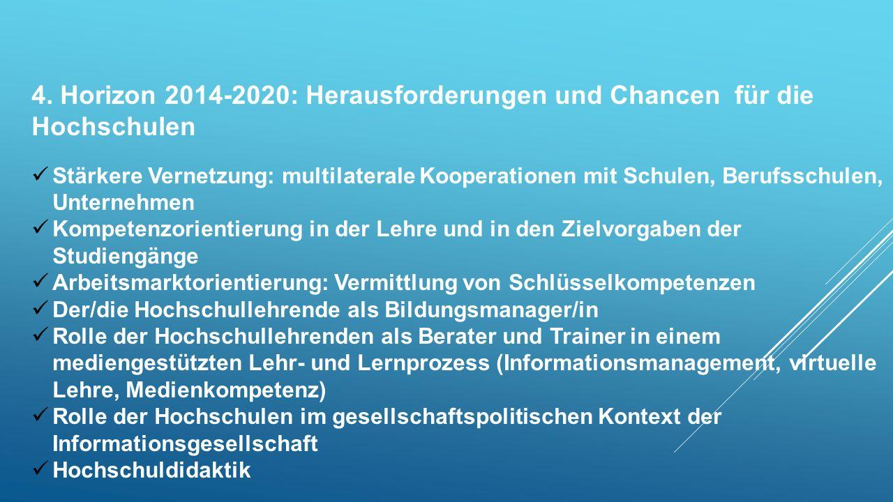 4. Horizon 2014-2020: Herausforderungen und Chancen für die Hochschulen Stärkere Vernetzung: multilaterale Kooperationen mit Schulen, Berufsschulen, U