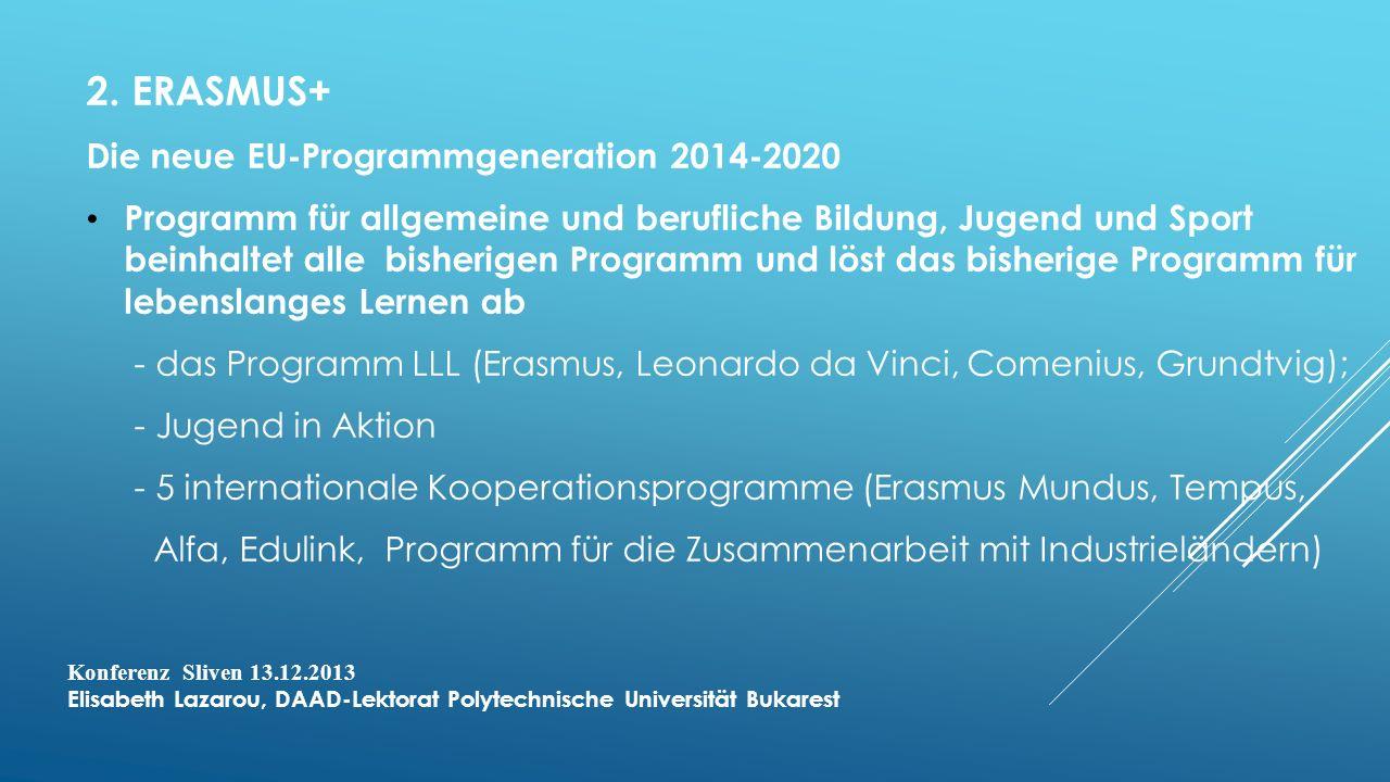 2. ERASMUS+ Die neue EU-Programmgeneration 2014-2020 Programm für allgemeine und berufliche Bildung, Jugend und Sport beinhaltet alle bisherigen Progr