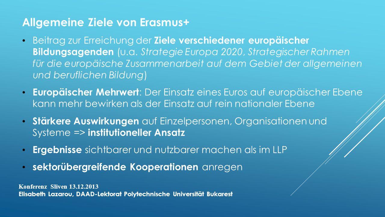 Allgemeine Ziele von Erasmus+ Beitrag zur Erreichung der Ziele verschiedener europäischer Bildungsagenden (u.a.