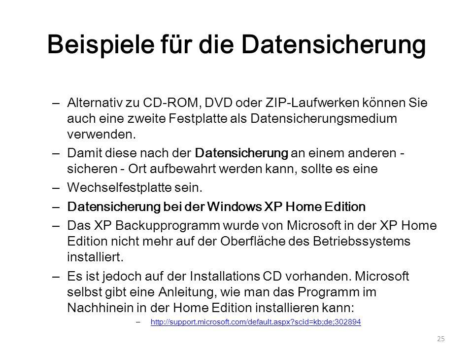 Beispiele für die Datensicherung – Alternativ zu CD-ROM, DVD oder ZIP-Laufwerken können Sie auch eine zweite Festplatte als Datensicherungsmedium verw
